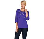 Quacker Factory Jeweled Rhinestone 3/4 Sleeve Top - A280818