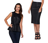 G.I.L.I. Printed Faux Leather Choice of Skirt or Peplum Top - A286018