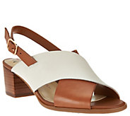 As Is Isaac Mizrahi Live! Leather Cross Band Sandals w/ Block Heel - A288218