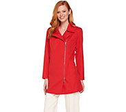 Dennis Basso Water Resistant Asymmetric Zip Front Jacket - A289818