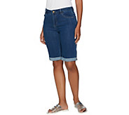 LOGO by Lori Goldstein 5-Pocket Denim Bermuda Shorts w/ Rolled Cuffs - A290518
