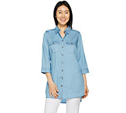 Belle by Kim Gravel Button Down Lyocell Tunic Shirt w/ Pocket - A291218