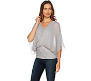 Hot in Hollywood Knit Lace Top with Chiffon Overlay - A292618