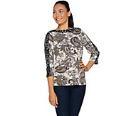 Susan Graver Printed Liquid Knit Split Sleeve Top - A293618
