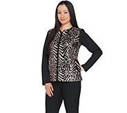 Bob Mackies Sequin Front Knit Zip Front Jacket - A296418