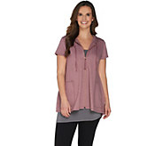 LOGO Lounge by Lori Goldstein French Terry Zip Front Short Sleeve Hoodie - A302418