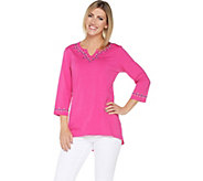 Denim & Co. Embroidered V-Neck Top w/ 3/4-Sleeves & Hi-Low Hem - A307118