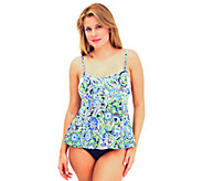 Fit 4 U Tummy Whimsical Paisley Cami Peplum Swim Top - A332218