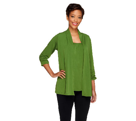 Susan Graver Liquid Knit Cardigan and Tank Set with Ruched Sleeves