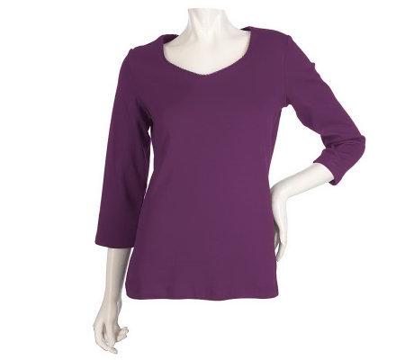 Liz claiborne new york sweetheart neck t shirt with for Liz claiborne v neck t shirts