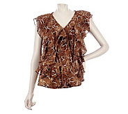 M by Marc Bouwer Animal Print Top with Ruffle Detail - A221519