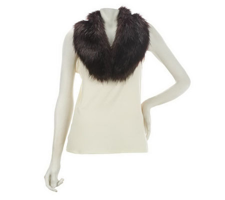 Dennis Basso Faux Fur Removable Collar Scarf