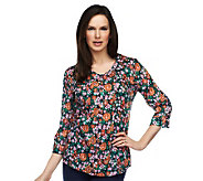 Liz Claiborne New York Printed Tunic with Roll Tab Sleeves - A230519