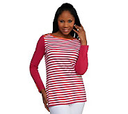 Susan Graver Weekend Striped Stretch Cotton Top with Button Detail - A231519
