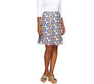 Isaac Mizrahi Live! Floral Print Knee Length Skirt - A233919