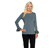 Susan Graver Liquid Knit Bateau Neck Long Sleeve Top with Ruffles - A235619
