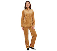 Quacker Factory Regular Velour Jacket & Pants Set w/Rhinestones - A238019
