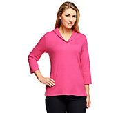 Denim & Co. Essentials Shawl Collar 3/4 Sleeve Rib Knit Top - A240619