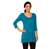 LOGO by Lori Goldstein Cotton Slub Embellished Top with Trim - A252319