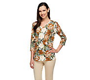 Denim & Co. Perfect Jersey Floral Print V-neck 3/4 Sleeve Top - A255319