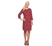 Liz Claiborne New York Polka-Dot 3/4 Sleeve Knit Dress - A255519