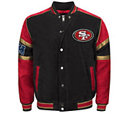 NFL Suede Jacket with Snap Cover Zipper Closure - A255719