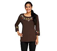 Quacker Factory Harvest Floral 3/4 Sleeve T-shirt - A257619