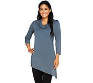 Susan Graver Premier Knit Asymmetrical Hem Tunic w/ Chiffon Neck - A258619