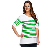 As Is Denim & Co. Active French Terry Painterly Stripe Top - A258719