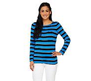 Susan Graver Striped Lurex Knit Bateau Neck Long Sleeve Top - A261219