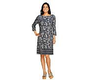 Liz Claiborne New York 3/4 Sleeve Printed Knit Dress - A262019