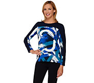 Susan Graver Weekend Printed Cotton Modal Long Sleeve Top - A266819