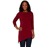 Susan Graver Passport Knit Tunic with Asymmetrical Hem - A268019