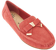 As Is Isaac Mizrahi Live! Suede Moccasins w/ Tipped Bow - A268419