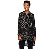 Susan Graver Animal Print Feather Weave Button Front Duster - A269219