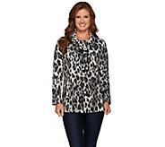 Susan Graver Weekend Printed Polar Fleece Long Sleeve Pullover Top - A270319