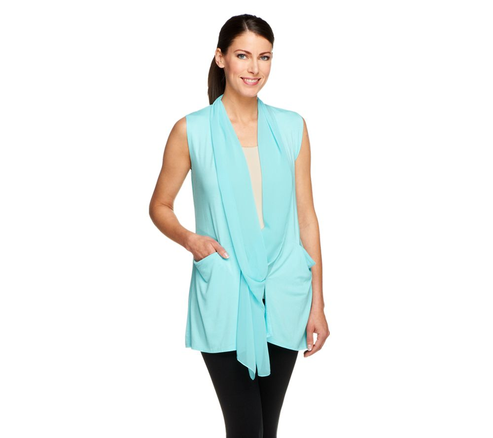 quot as is quot logo by lori goldstein knit vest with chiffon collar pockets qvc com
