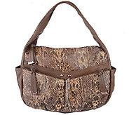 As Is B. Makowsky Snake Embossed Zip Top Hobo Bag w/ Zipper Pockets - A272019