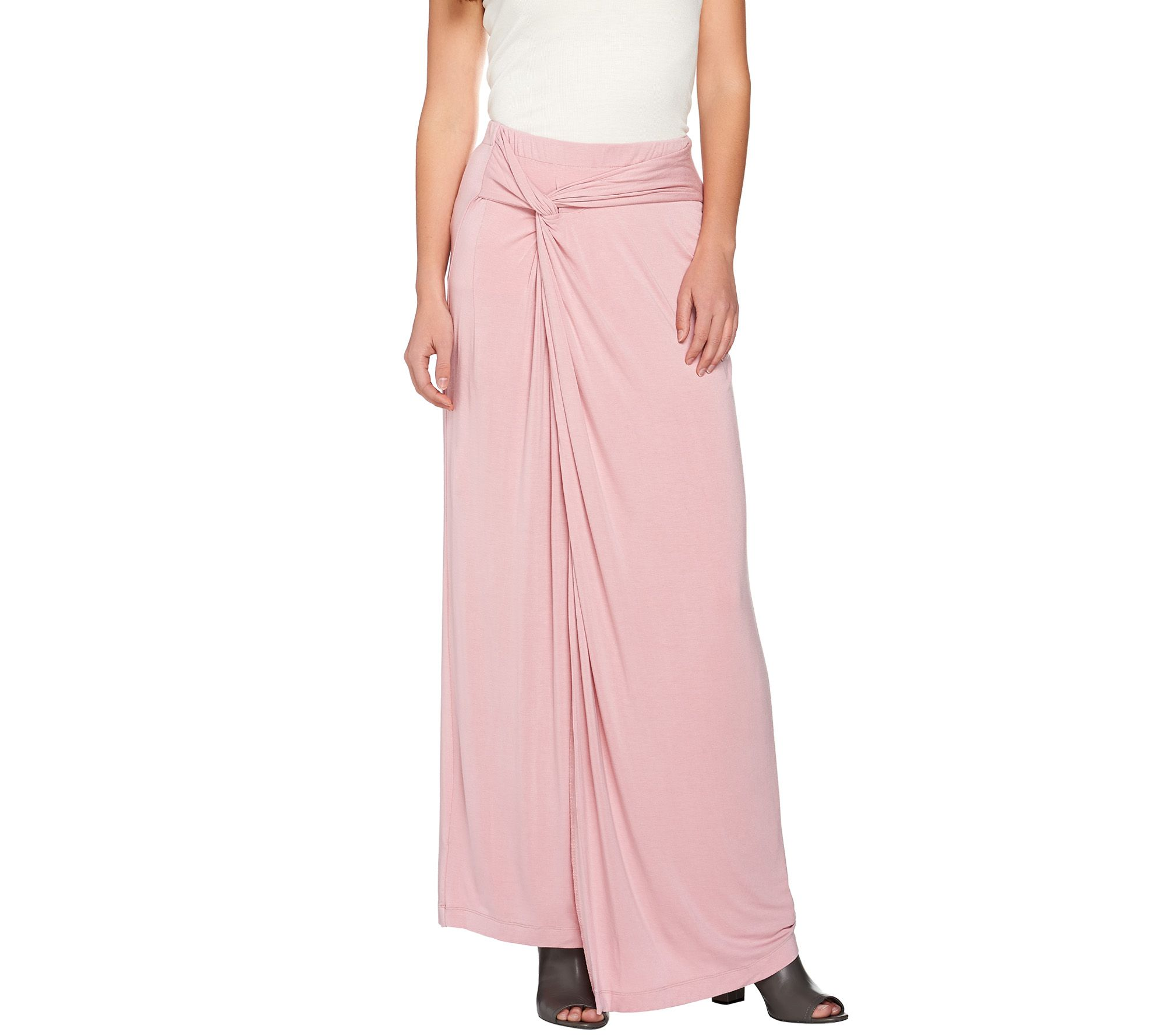 h by regular knit maxi skirt with side knot detail