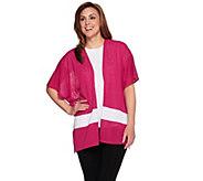 Tashon Slub Jersey Bold Stripe Open Front Cardigan - A274419