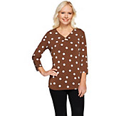 Susan Graver Printed Liquid Knit 3/4 Sleeve V-neck Top w/Ring Detail - A274519