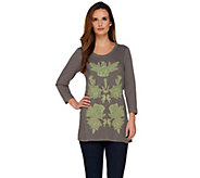 LOGO by Lori Goldstein Slub Knit Top with Mesh Applique - A275019