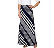 Susan Graver Weekend Striped Liquid Knit Maxi Skirt - Regular - A275219