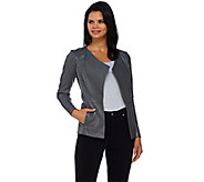As Is H by Halston Open Front Leather Jacket with Ribbed Panels - A277419