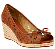 As Is Liz Claiborne New York Open Toe Perforated Wedges - A278619