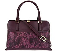 H by Halston Two-Tone Lizard Embossed and Pebble Leather Tote - A279819