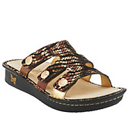As Is Alegria Leather Slip-On Sandals with Strap Details - Venice - A280619