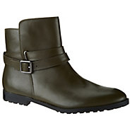 As Is Isaac Mizrahi Live! Leather Ankle Boots with Strap Detail - A281019