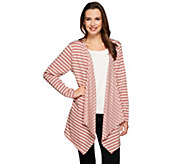 As Is Denim & Co. Active French Terry Striped Drape Front Cardigan - A282519