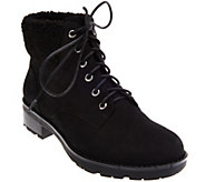 Vionic Orthotic Lace-up Boots w/ Faux Fur Trim - Lolland - A283319